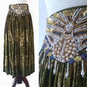 Vintage 70s Handmade Beaded Gypsy Hippie Skirt